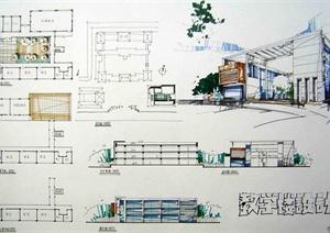 现代风格学校教学楼快题设计jog手绘