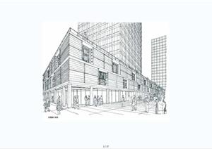 现代风格手绘建筑线稿设计JPG图片