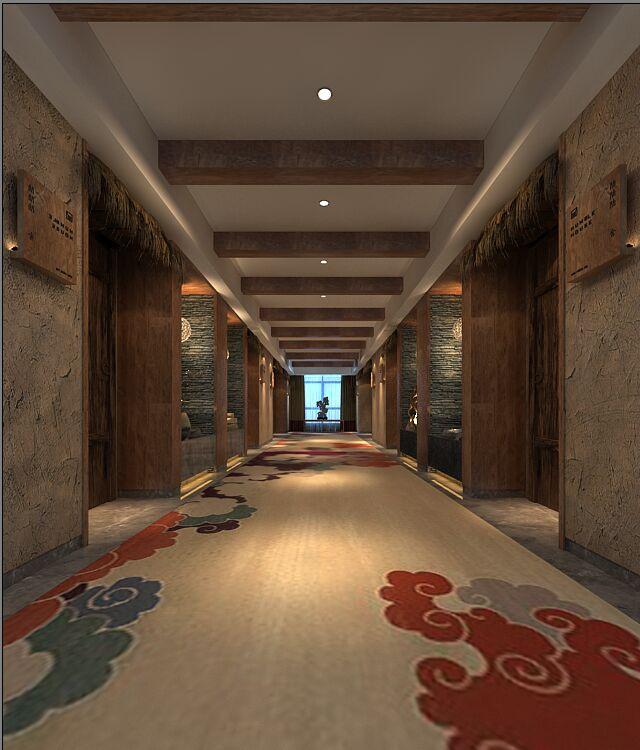 某现代中式风格宾馆酒店设计cad施工图