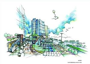 某现代风格城市建筑景观设计手绘jpg效果图