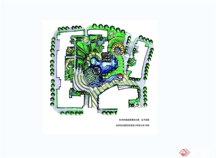 某现代风格城市建筑景观设计手绘jpg效果图[原创]