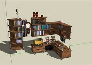 某现代风格书柜组合设计SU(草图大师)模型