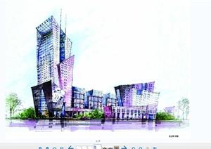 手绘现代风格建筑效果图JPG图片