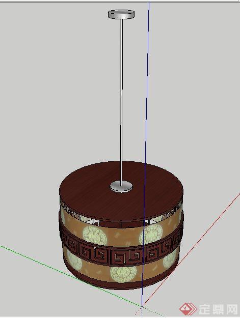 中式圆柱体吊灯su模型[原创]