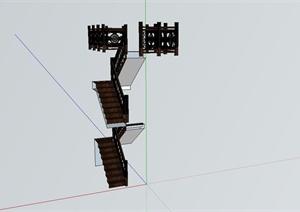 古典中式楼梯扶栏设计SU(草图大师)模型