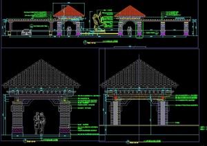 新古典景观亭廊详图