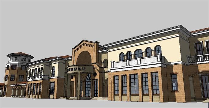 欧式风格售楼处会所建筑设计su模型