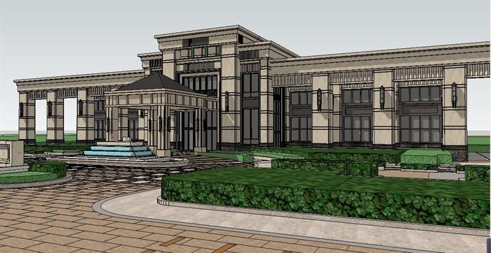 欧式风格平顶多层会所建筑设计su模型