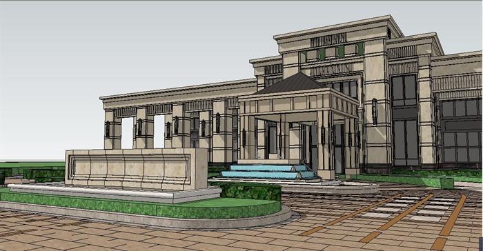 欧式风格平顶多层会所建筑设计su模型[原创]