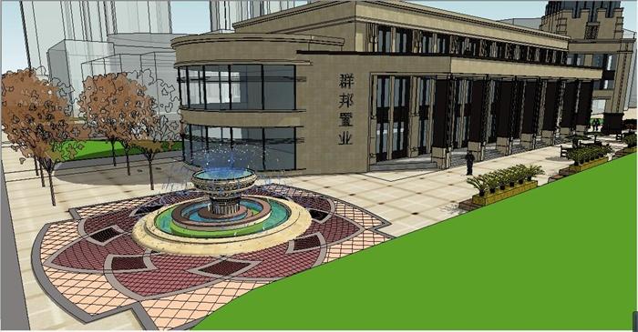 欧式售楼处建筑及景观环境SU模型,包括多层售楼部建筑体、廊架、喷泉水池、种植池、遮阳伞等,模型制作细致,适当材质贴图,具有一定参考价值。