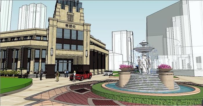 欧式售楼处建筑及景观环境su模型