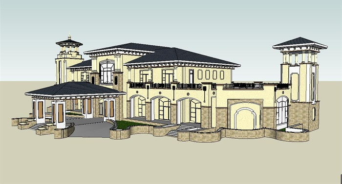 经典欧式风格售楼处建筑设计su模型