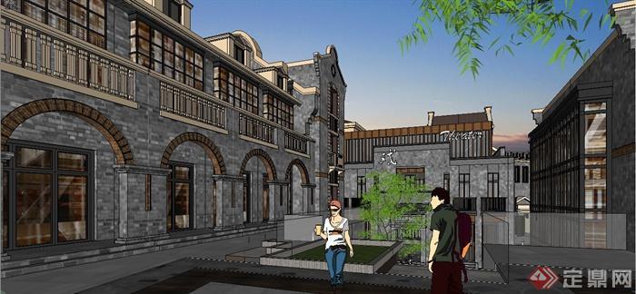 某精致古典中式民国风格商业街建筑设计SU模型(8)