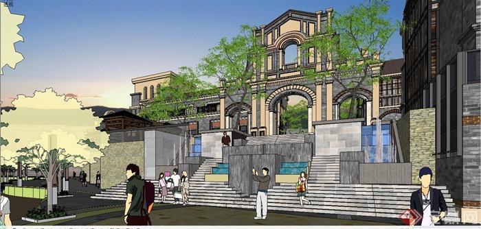 某精致古典中式民国风格商业街建筑设计SU模型(9)