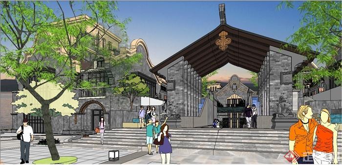 某精致古典中式民国风格商业街建筑设计SU模型(11)