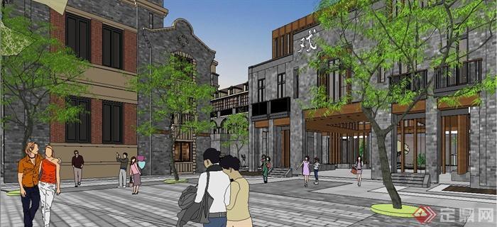 某精致古典中式民国风格商业街建筑设计SU模型(12)