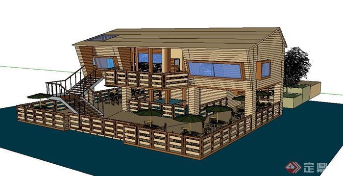 某现代风格滨水餐厅建筑设计su模型[原创]