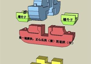 斗拱中式构件SU(草图大师)模型