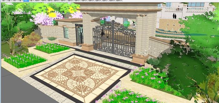 欧式双栋别墅花园SU细致设计模型(1)