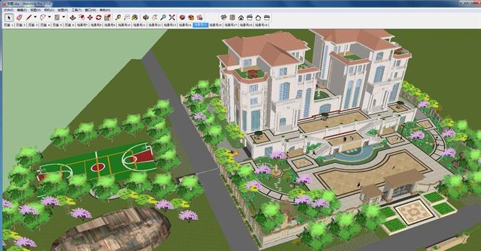 欧式双栋别墅花园SU细致设计模型(2)
