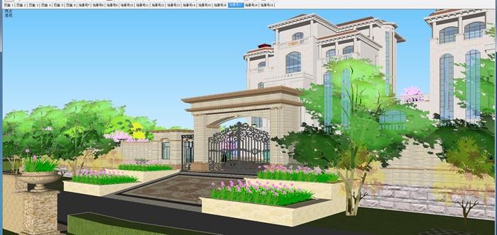 欧式双栋别墅花园SU细致设计模型(3)