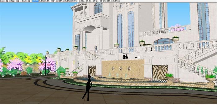 欧式双栋别墅花园SU细致设计模型(5)