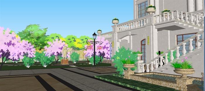欧式双栋别墅花园SU细致设计模型(6)