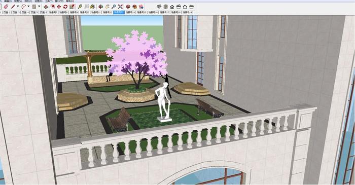 欧式双栋别墅花园SU细致设计模型(7)