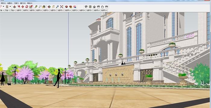 欧式双栋别墅花园SU细致设计模型(8)