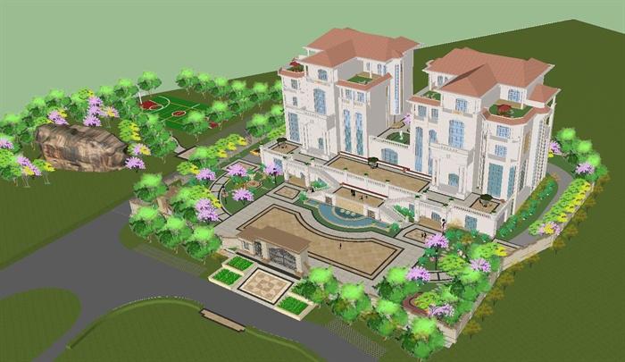 欧式双栋别墅花园SU细致设计模型(9)