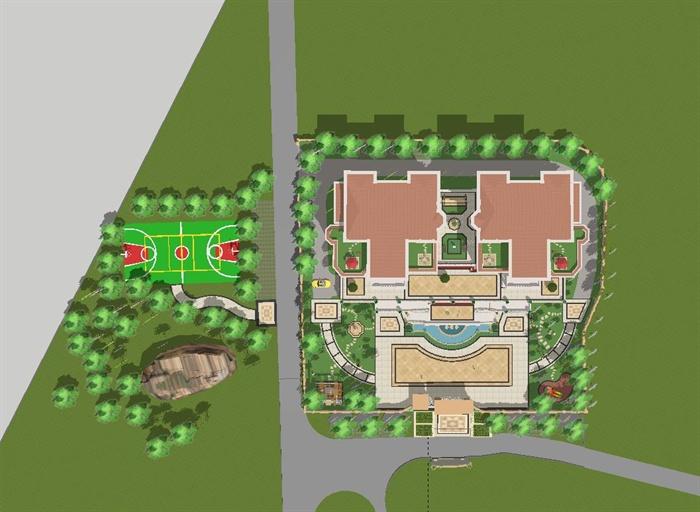 欧式双栋别墅花园SU细致设计模型(10)