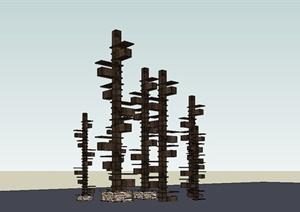 某现代中式风格木质景观小品设计SU(草图大师)模型