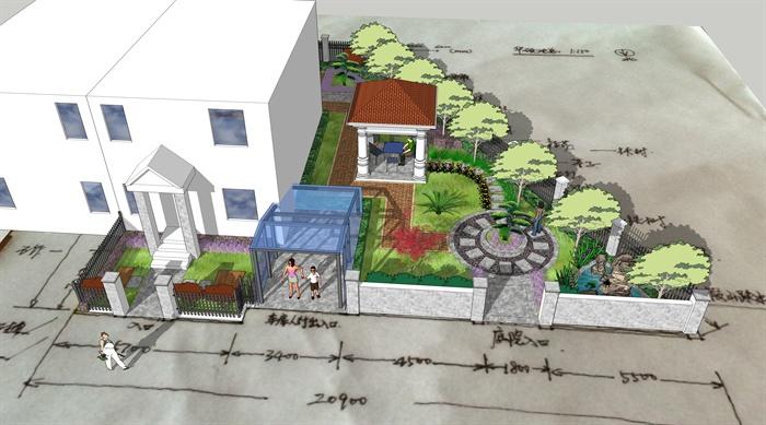 欧式风格详细别墅庭院景观设计su模型[原创]