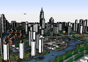 现代化城市规划建筑设计Su模型