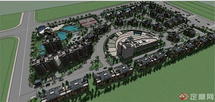 某欧式风格别墅住宅小区规划设计SU模型(1)