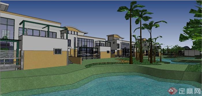 某欧式风格别墅住宅小区规划设计SU模型(3)