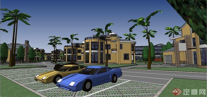 某欧式风格别墅住宅小区规划设计SU模型(2)