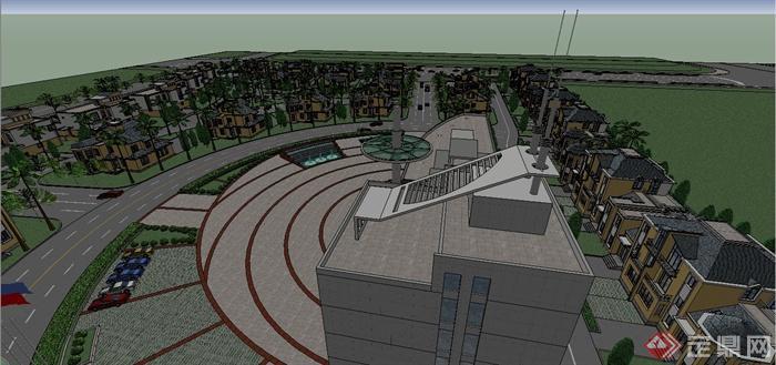 某欧式风格别墅住宅小区规划设计SU模型(5)