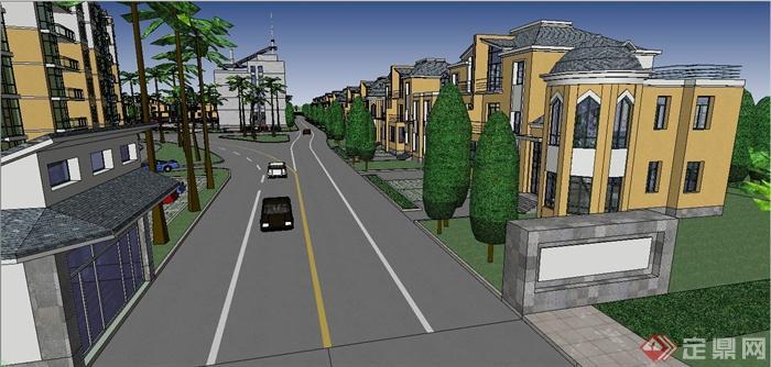 某欧式风格别墅住宅小区规划设计SU模型(4)