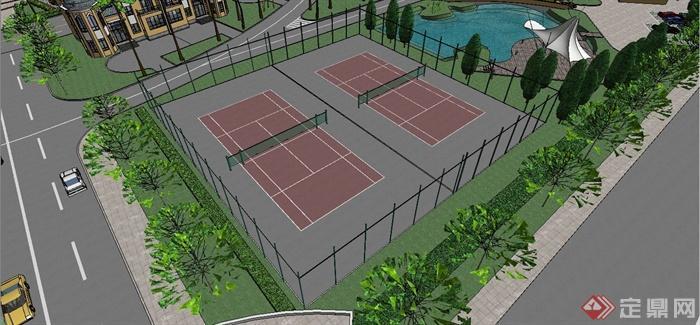 某欧式风格别墅住宅小区规划设计SU模型(6)
