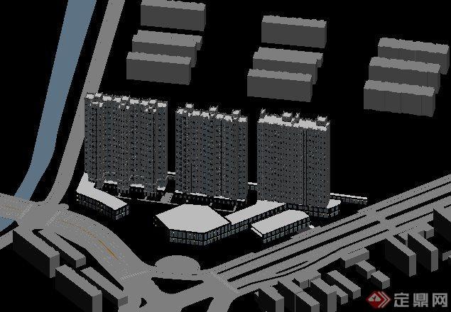 简欧住宅小区公寓楼建筑3dmax模型(3)