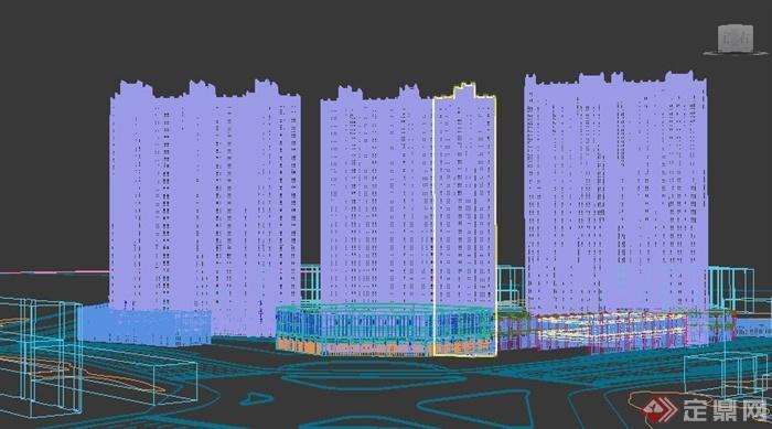 简欧住宅小区公寓楼建筑3dmax模型(4)