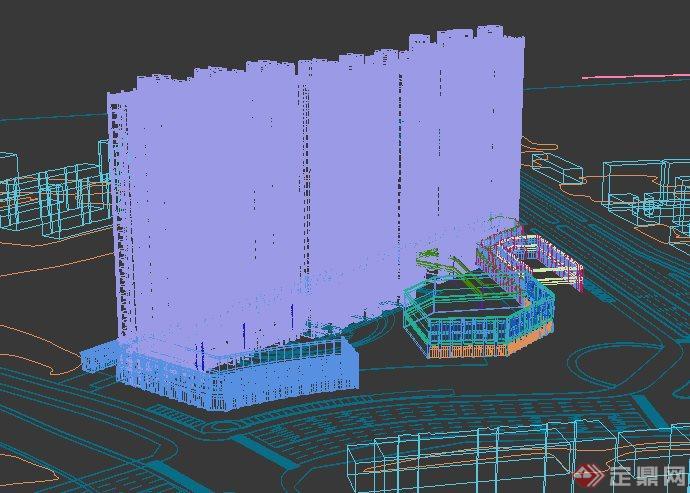 简欧住宅小区公寓楼建筑3dmax模型(5)