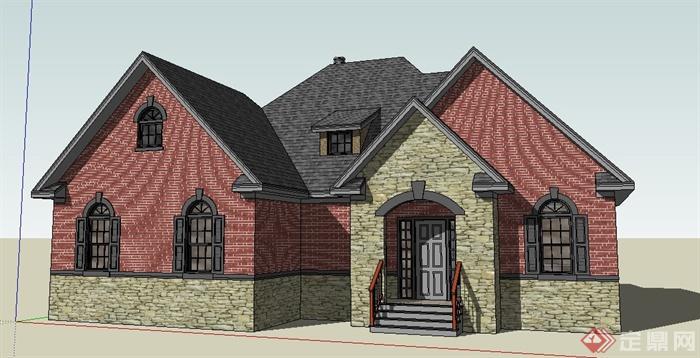 美式乡村别墅建筑单体设计su模型(1)图片