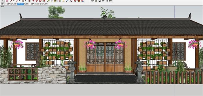 白族特色民宿住宅带花园庭院SU模型(2)