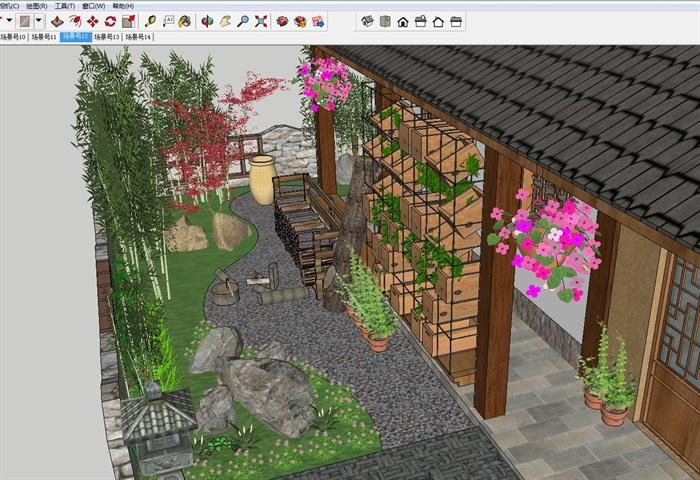 白族特色民宿住宅带花园庭院SU模型(3)
