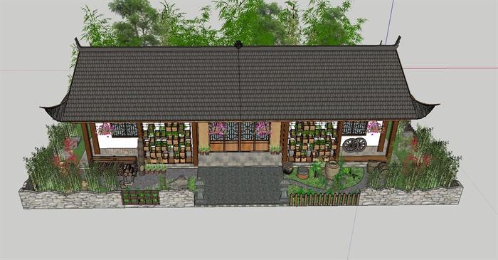白族特色民宿住宅带花园庭院SU模型(5)