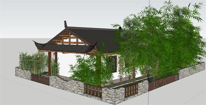白族特色民宿住宅带花园庭院SU模型(6)