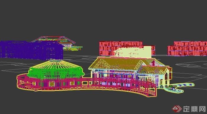 中式风格农产品市场建筑设计3dmax模型(2)