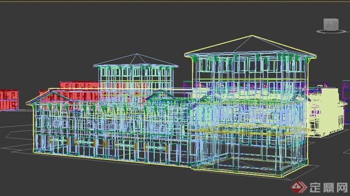 中式风格农产品市场建筑设计3dmax模型(3)